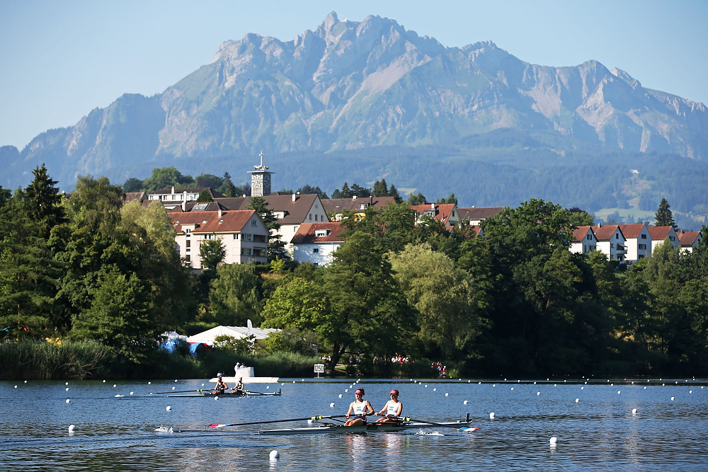 LUCERNE, SWITZERLAND - JULY 10: A general view of action during Day 1 of the 2015 World Rowing Cup III on Lucerne Rotsee on July 10, 2015 in Lucerne, Switzerland. (Photo by Philipp Schmidli/Getty Images)