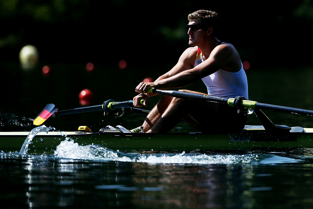 LUCERNE, SWITZERLAND - JULY 11: Patrick Leineweber of Germany competes in the Men's Single Sculls Final C during Day 2 of the 2015 World Rowing Cup III on Lucerne Rotsee on July 11, 2015 in Lucerne, Switzerland. (Photo by Philipp Schmidli/Getty Images)