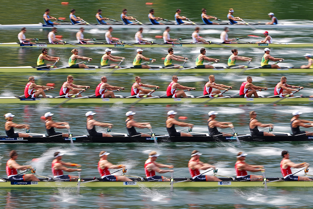 LUCERNE, SWITZERLAND - JULY 11: Teams of Italy, France, Australia, Poland, New Zealand and Netherlands (top-down) compete in the Men's Eight Repechage during Day 2 of the 2015 World Rowing Cup III on Lucerne Rotsee on July 11, 2015 in Lucerne, Switzerland. (Photo by Philipp Schmidli/Getty Images)