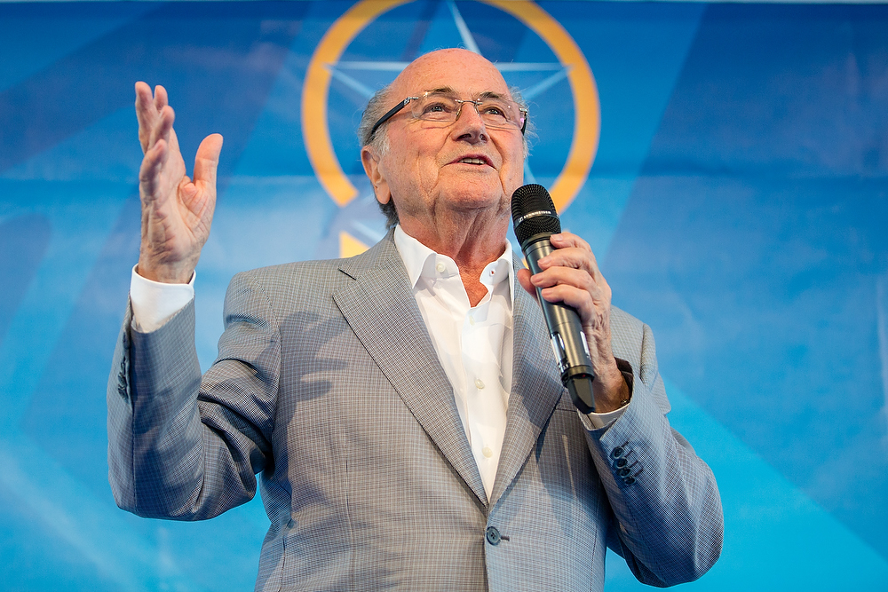ZURICH, SWITZERLAND - MAY 14: FIFA President Joseph S. Blatter gives a speech during the FIFA Blue Stars 2015/FIFA Youth Cup at Buchlern sports stadium on May 14, 2015 in Zurich, Switzerland. (Photo by Philipp Schmidli - FIFA/FIFA via Getty Images)