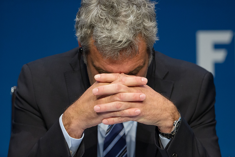ZURICH, SWITZERLAND - MAY 27: FIFA Director of Communications Walter de Gregorio reacts during a press conference at the FIFA headquarters on May 27, 2015 in Zurich, Switzerland. Swiss police on Wednesday raided a Zurich hotel to detain top FIFA football officials as part of a US investigation. (Photo by Philipp Schmidli/Getty Images)