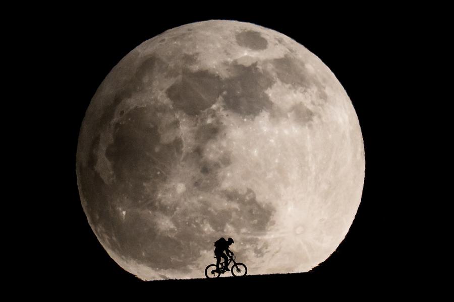 Ein Mountainbiker fährt über eine Wiese vor dem aufgehenden Vollmond am 25. April 2013.